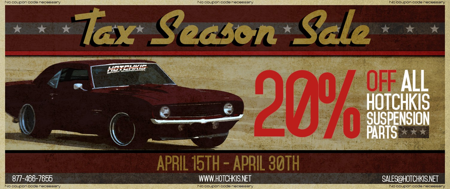 Hotchkis Sport Suspension 20% Off Tax Season Sale April 2015
